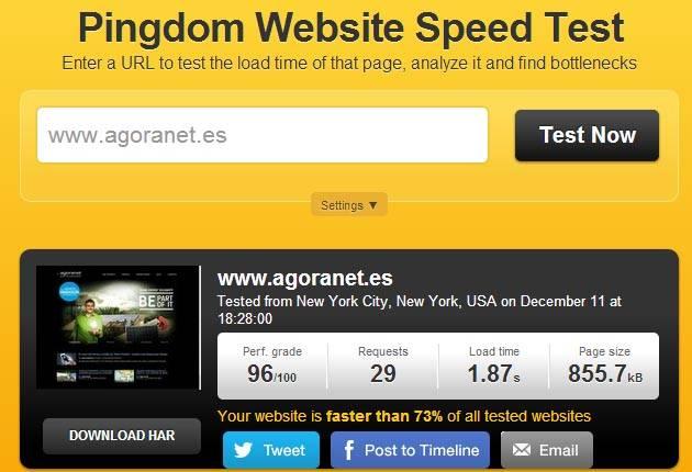 Imagen del resultado del Website Speed Test de Pingdom posterior al proceso de Web Performance Optimization