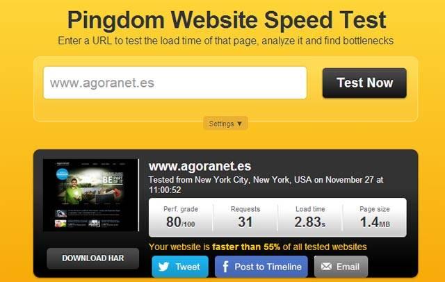 Imagen del resultado del Website Speed Test de Pingdom previo al proceso de Web Performance Optimization