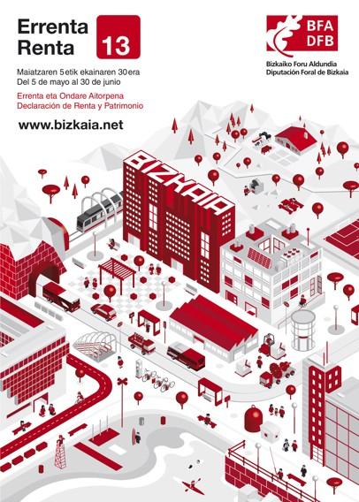 Imagen de la creatividad del cartel de la campaña de la Renta y Patrimonio de BFA-DFB 2013