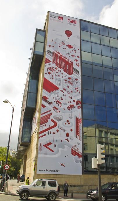Imagen de la creatividad de la lona exterior de la campaña de la Renta y Patrimonio de BFA-DFB 2013