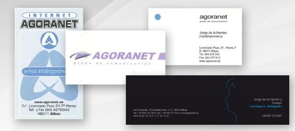 Tarjetas de visita de agoranet desde 1996 hasta hoy